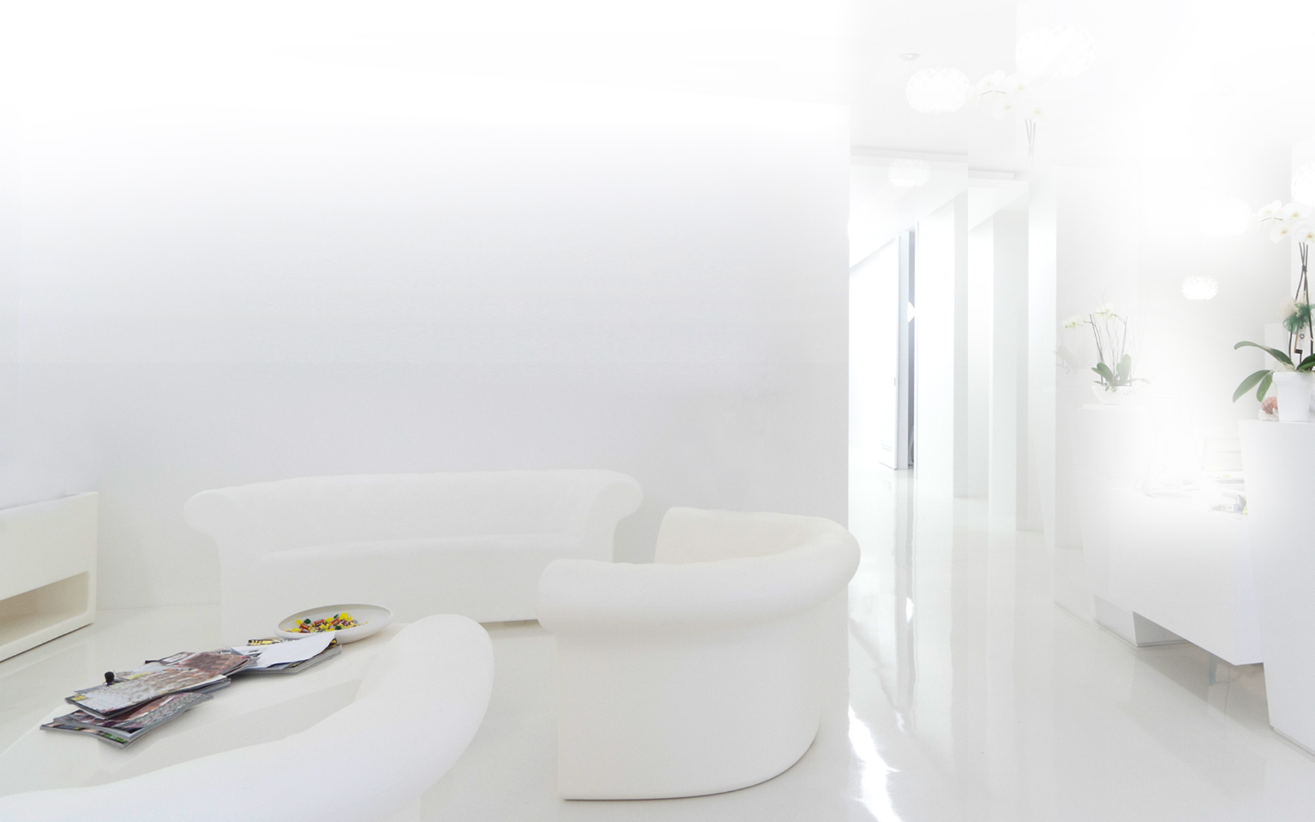 Clean white waiting room image for TV product images